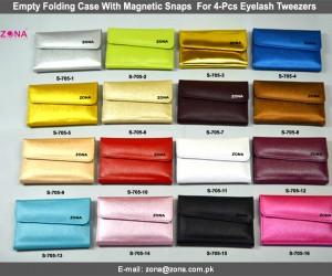 Empty Folding Case With Magnetic Snaps For 4-Pcs Eyelash Tweezers