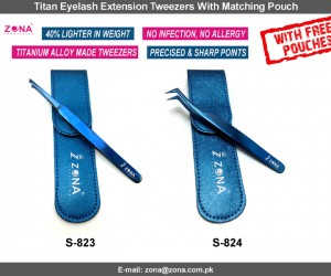 Titan Eyelash Extension Tweezers With Matching Pouch