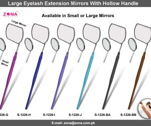 1226-Large Eyelash Extension Mirrors With Hollow Handle-