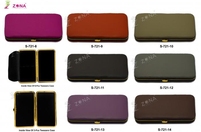 S-721-2 (Plain / Soft Skin) Magnetic Case in Golden Frame For 3-Pcs & 6-Pcs Eyelash Tweezers