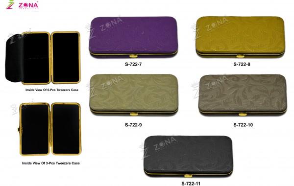 S-722-2 (Floral Print) Magnetic Case in Golden Frame For 3-Pcs & 6-Pcs Eyelash Tweezers