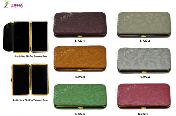 S-722 (Floral Print) Magnetic Case in Golden Frame For 3-Pcs & 6-Pcs Eyelash Tweezers