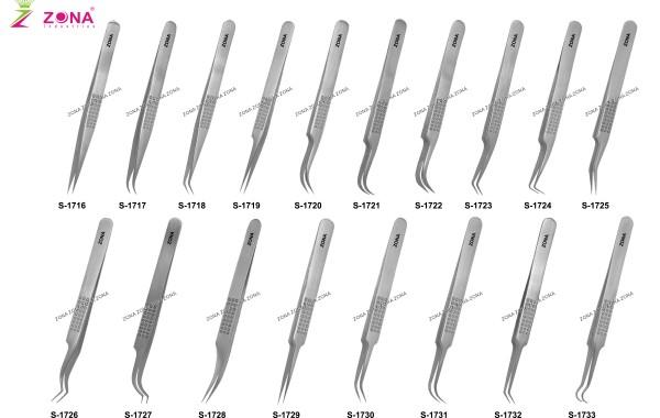 S-1716-1733 Dotted Handle Lash Extension Tweezers