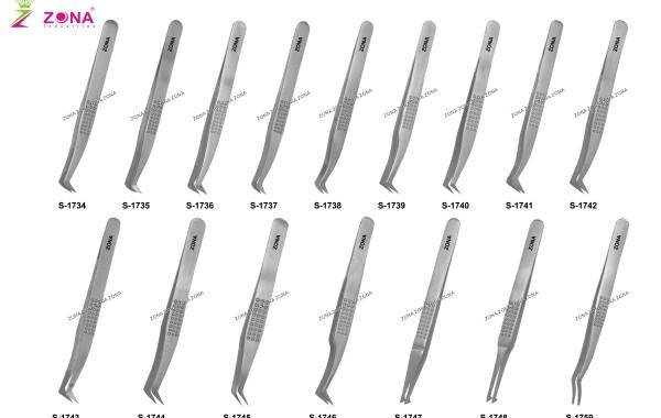 S-1734-1759 Dotted Handle Lash Extension Tweezers