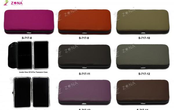 S-717-2 (Plain / Soft Skin) Magnetic Case For 3-Pcs & 6-Pcs Eyelash Tweezers