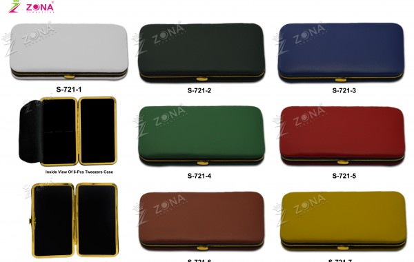 S-721 (Plain / Soft Skin) Magnetic Case In Golden Frame For 3-Pcs & 6-Pcs Eyelash Tweezers
