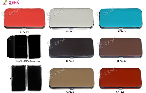 S-724 Plain Soft Skin Magnetic Case For 3-Pcs & 6-Pcs Eyelash Tweezers